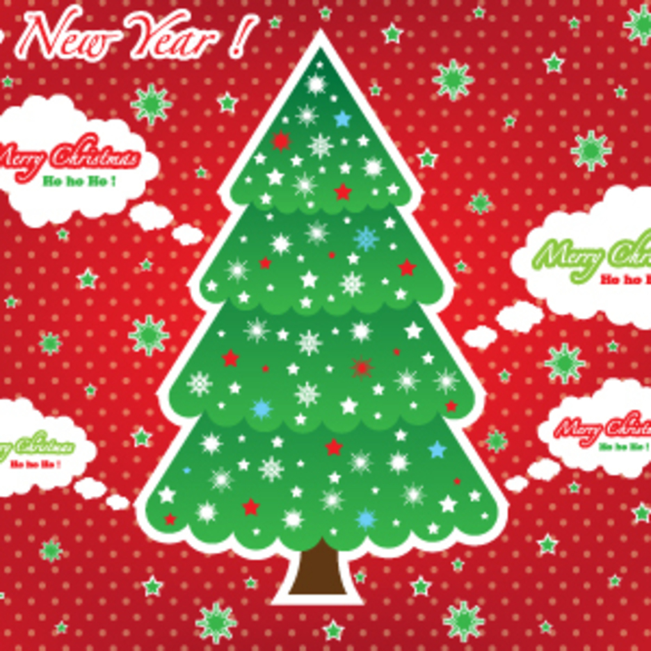 Christmas Tree Red Card Graphic