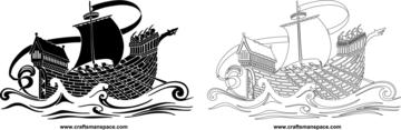 Medieval Ship Stencil