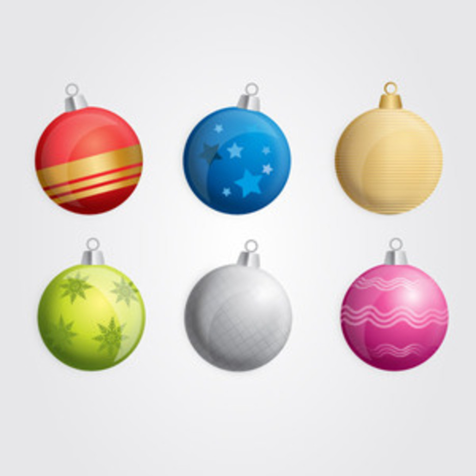 Six Free Vector Christmas Baubles