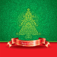 Free Vector Christmas Tree with Red Ribbon
