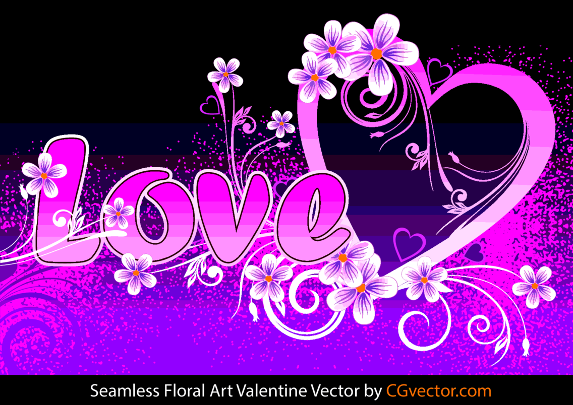 Seamless Floral Art Valentine Vector