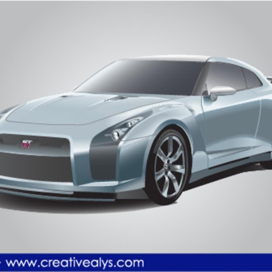 Nissan GTR Realistic Vector Car
