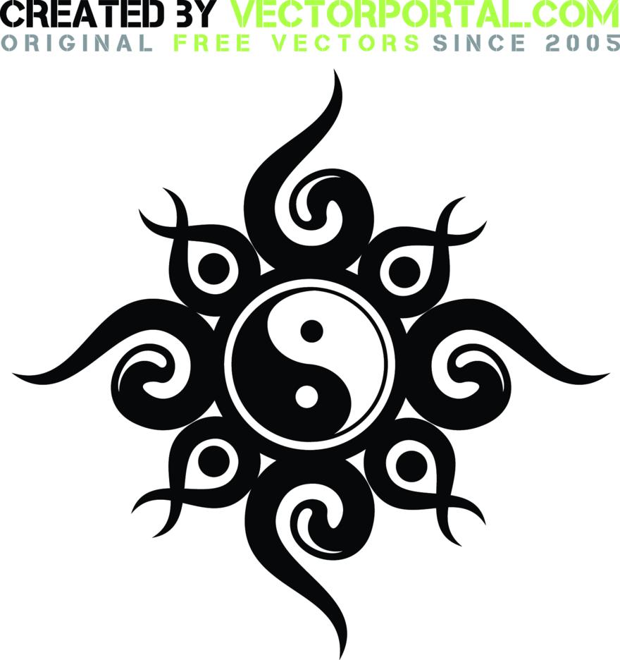 Free Vector Yin Yang Tribal Design