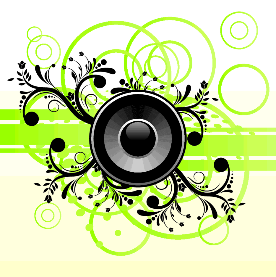 Free Vector Music Speaker On Green Abstract Background