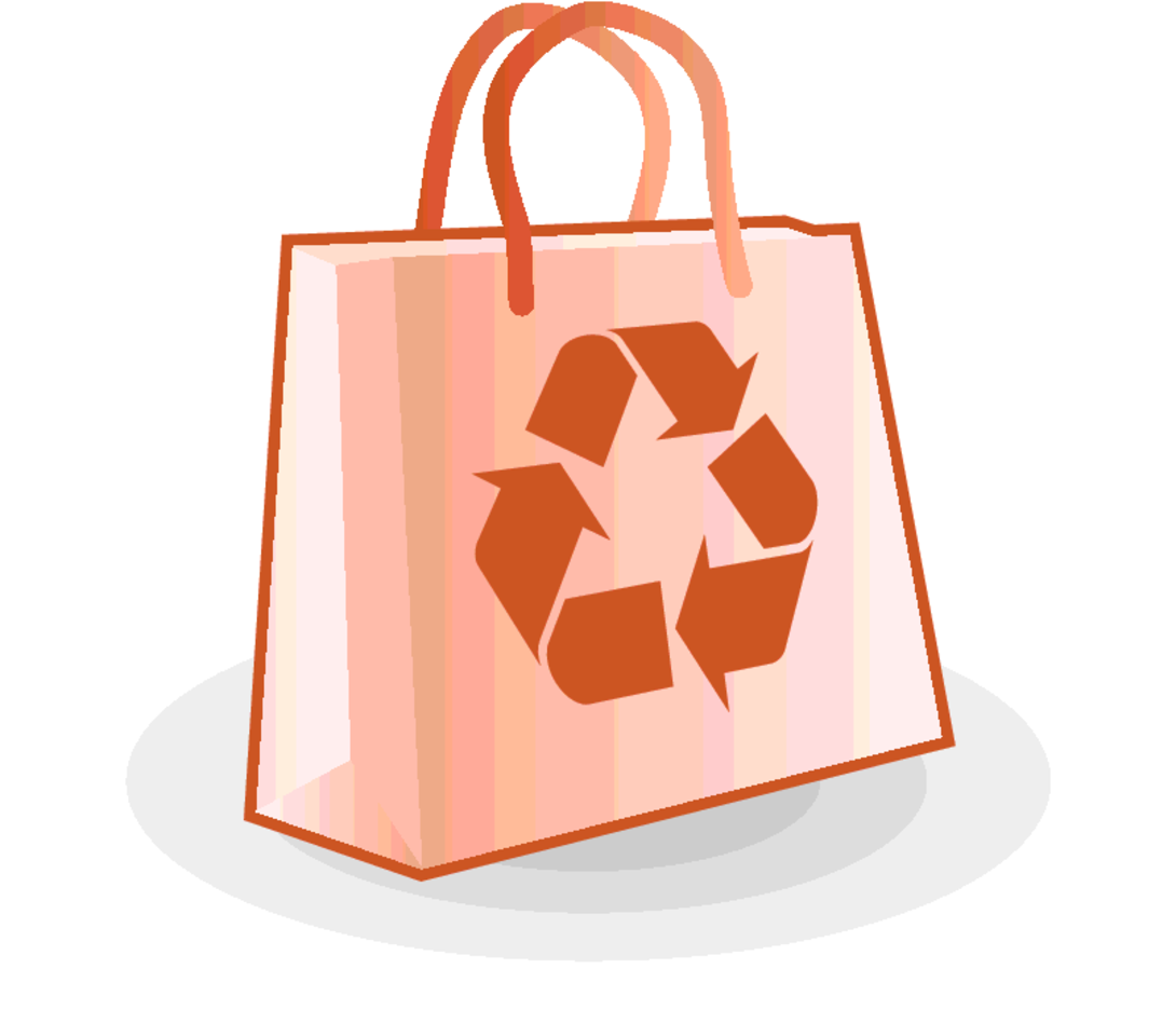 Free Vector Paper Bag with Recycle Logo