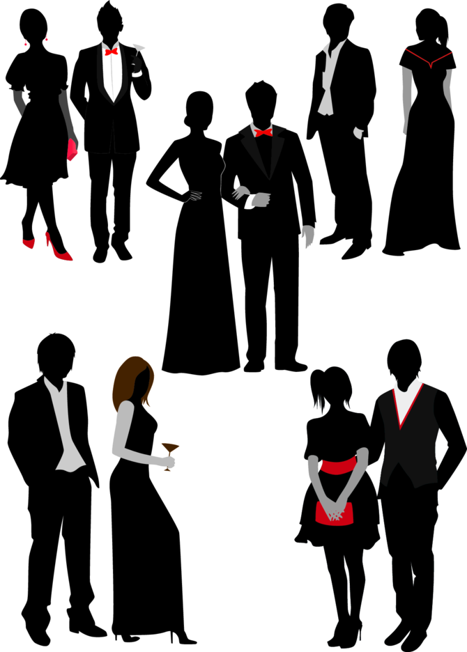 Free Vector Prom Night Couple Silhouette