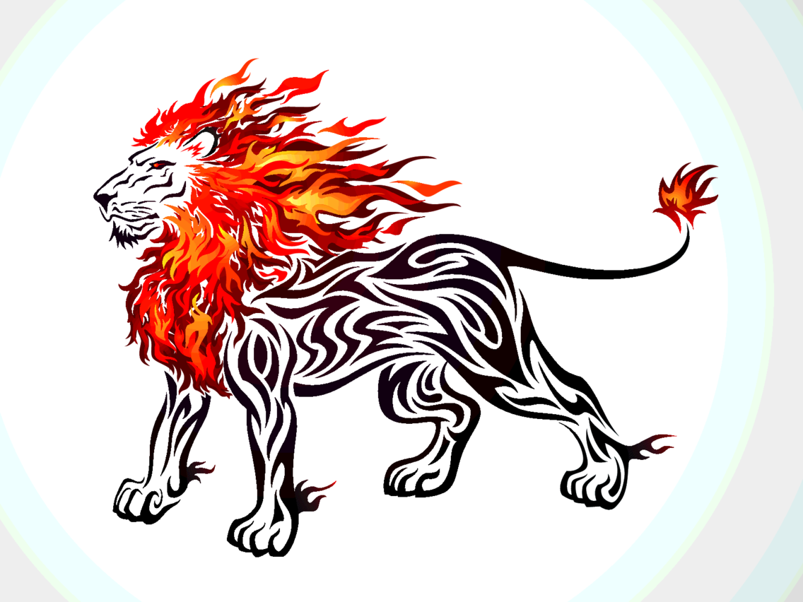 Free Lion Vector On Fire