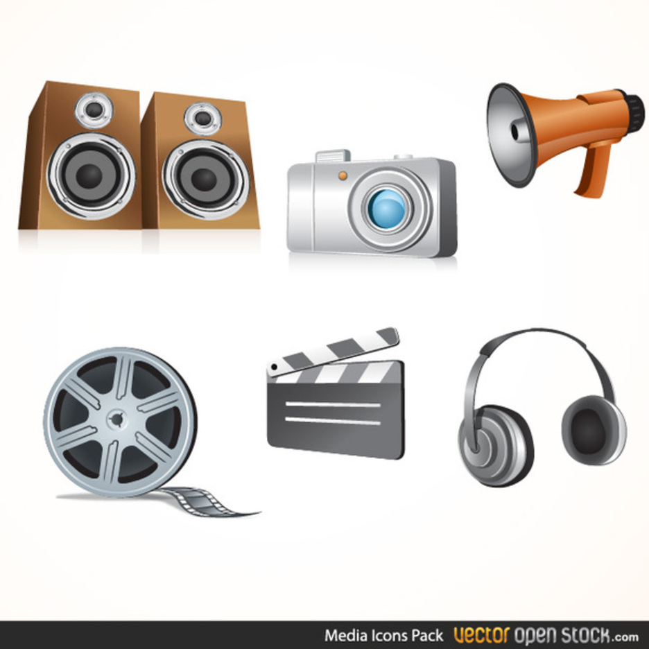Free Glossy Media Icon Vectors