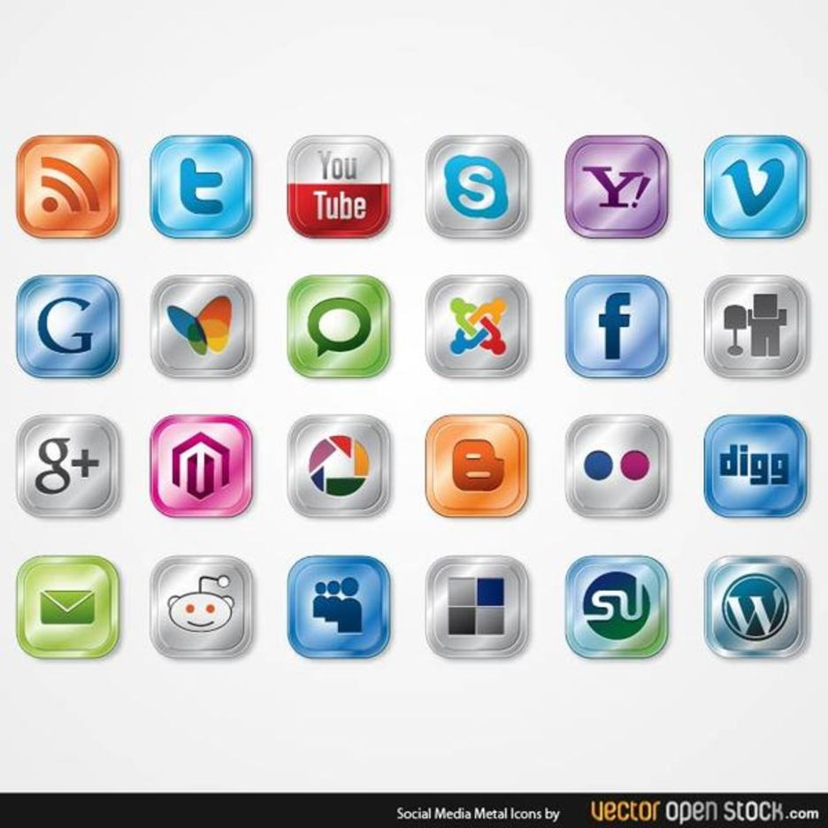 Free Vector Glossy Social Media Icon Pack