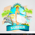 Free Vector Surfer Girl Wallpaper