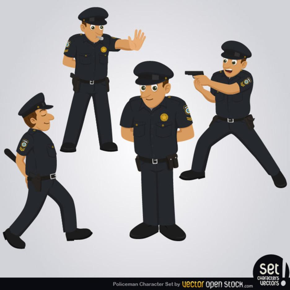 Free Vector Policeman Character Set