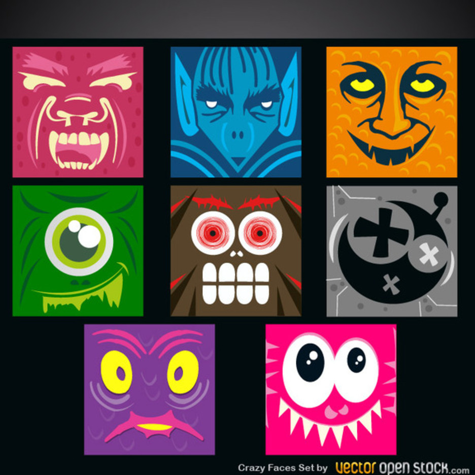 Free Crazy Faces Vector Set