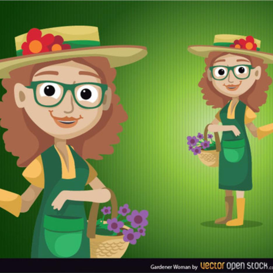Gardener Woman Vector Character