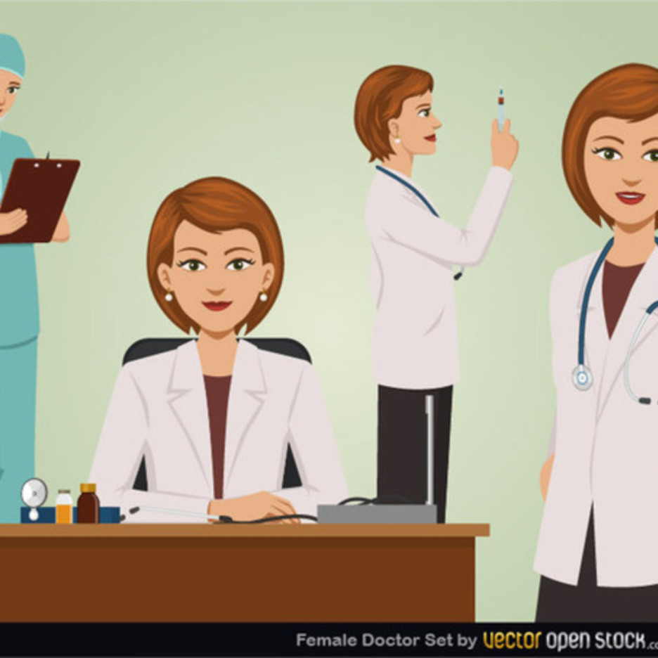 Free Vector Female Doctor Set