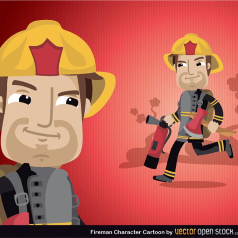 Fireman Cartoon Vector
