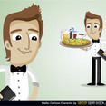 Free Vector Waiter Cartoon Character