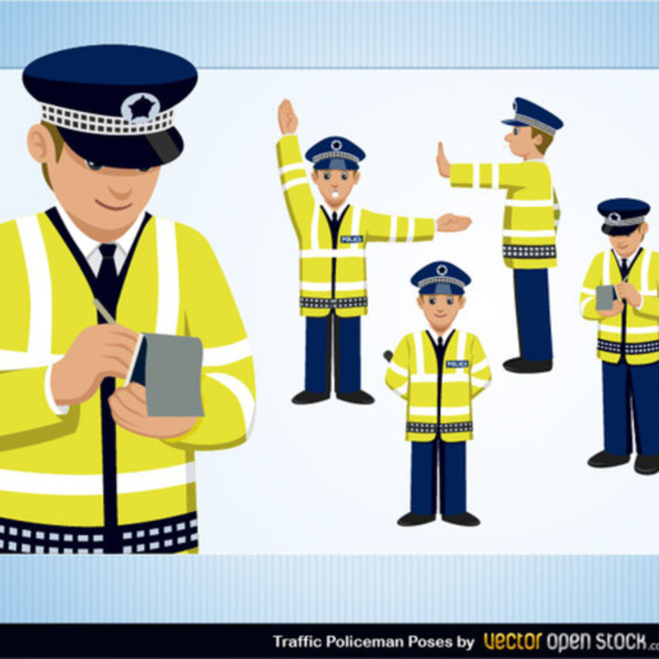 Free Traffic Policeman Vector Set
