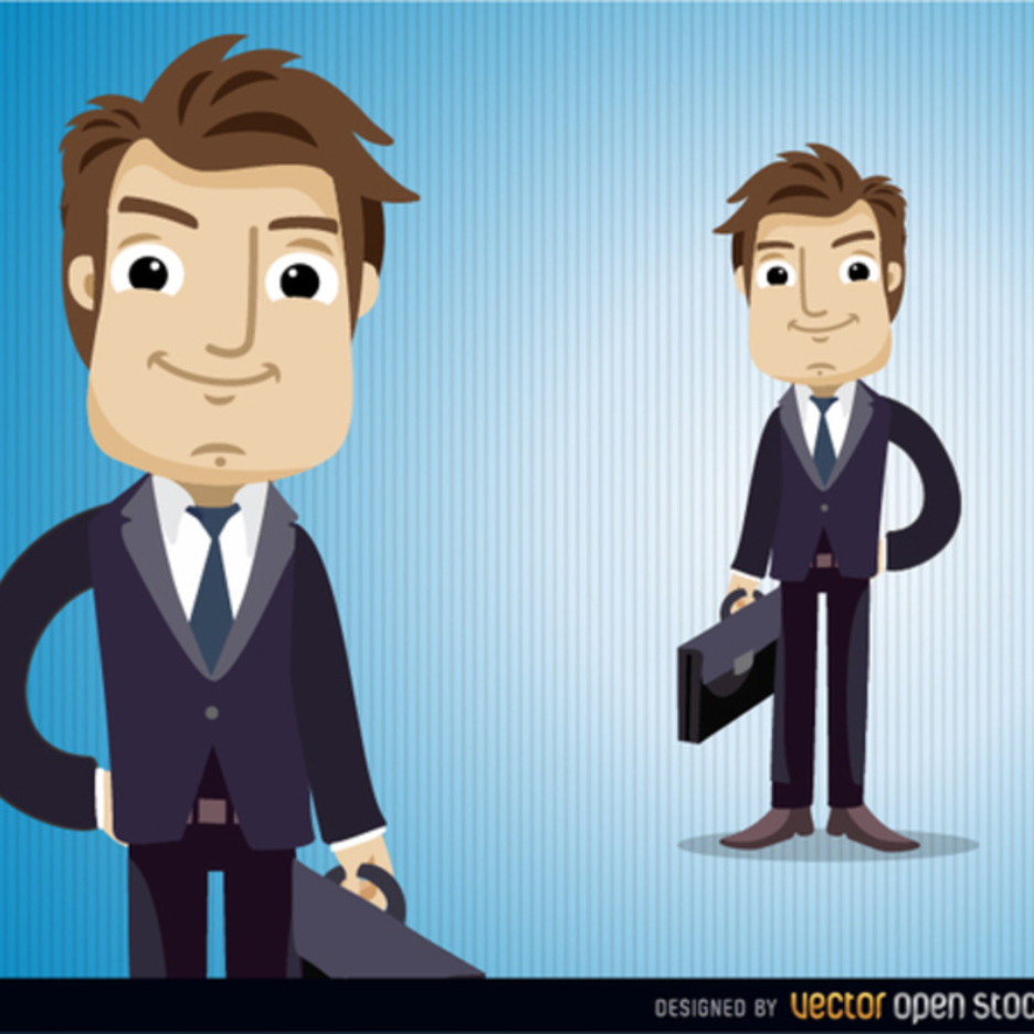 Businessman Vector Character With Briefcase