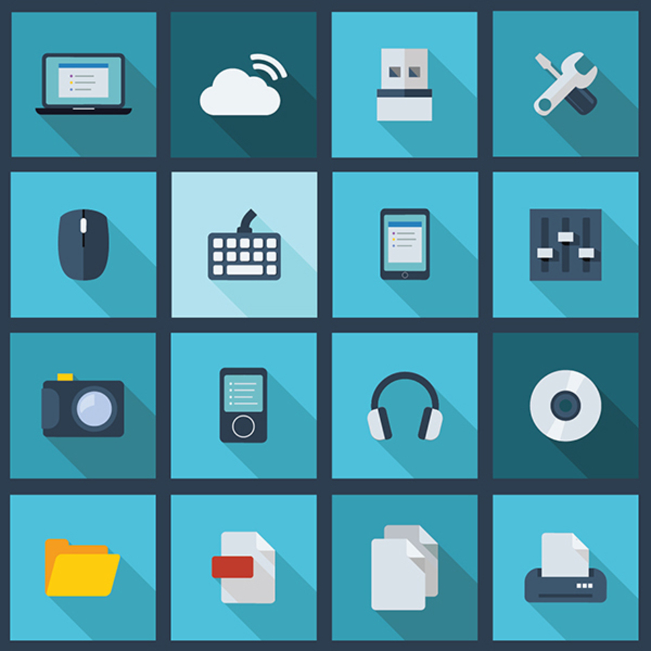 Free Vector Long Shadow Business and Technology Icons 2014