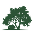 Free Vector Silhouette Oak Tree with Cabin