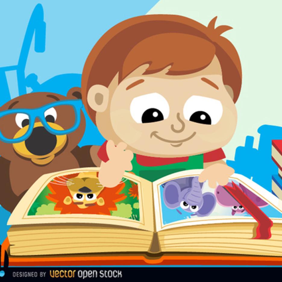 Cute Little Boy with Book Vector