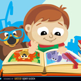 Cute Little Boy with Book Vector