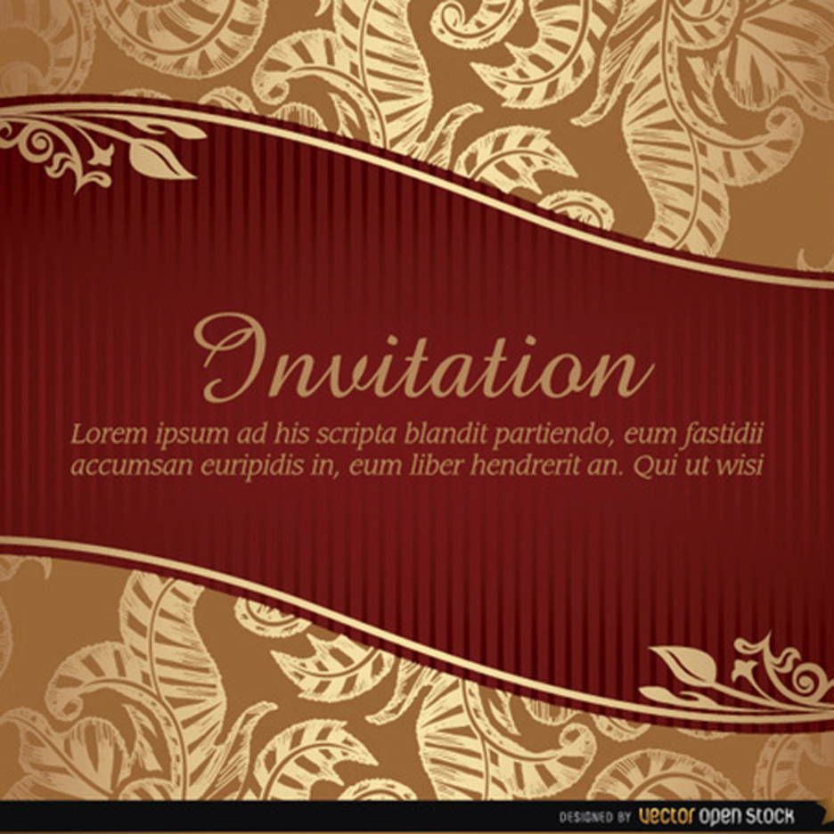 Marriage Invitation Vector with Ribbon