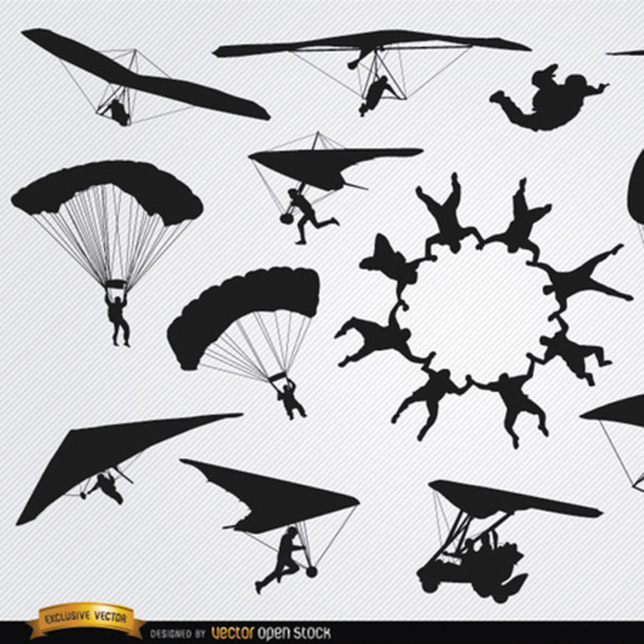 Free Vector Parachutes and Skydiving Silhouette Pack