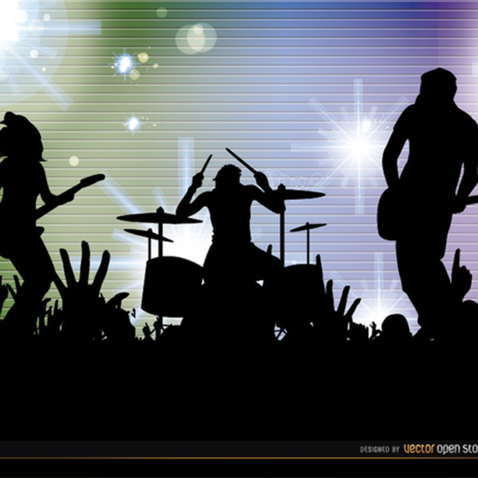 Free Vector Rock Band Cconcert Silhouettes Background