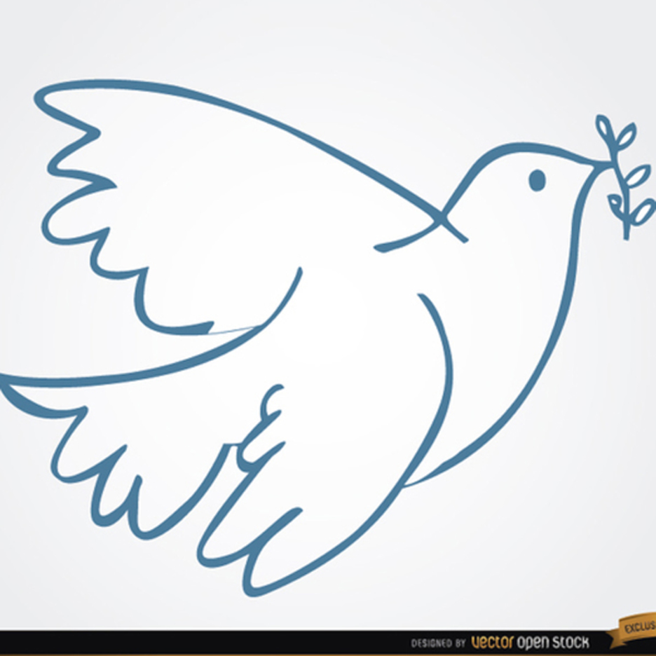 White Dove Vector with Laurel