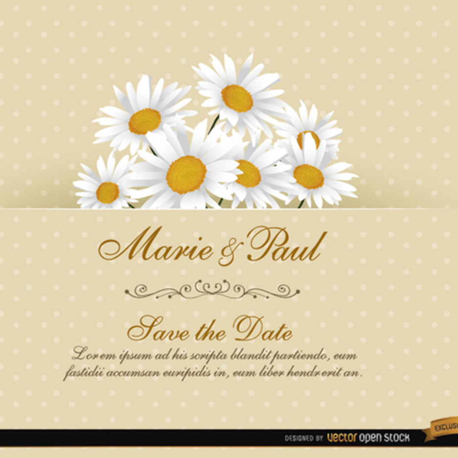 Daisy Floral Wedding Invitation Vector Card