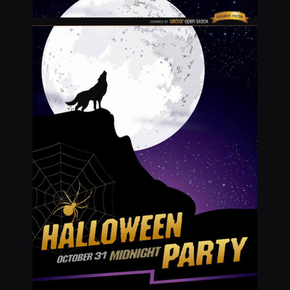 Wolf Halloween Vector Poster