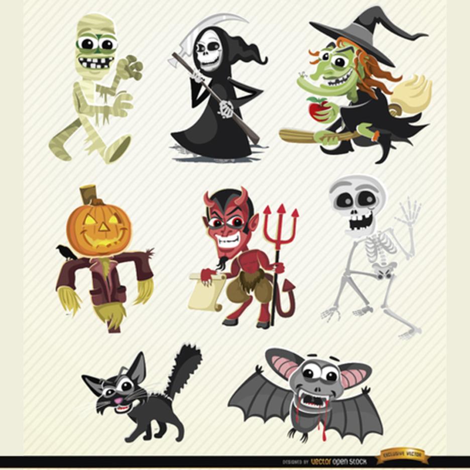 Halloween Vector Cartoon Characters Set