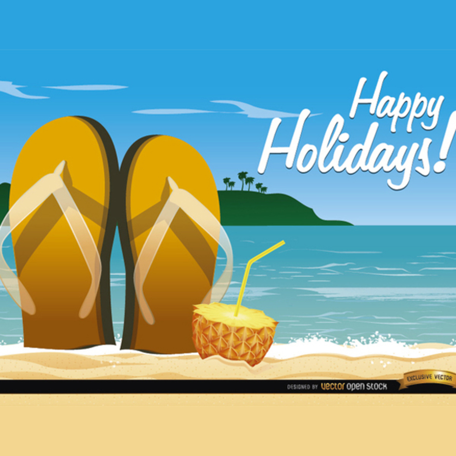 Beach Sandals Cocktail Vector Background