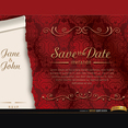Free Elegant Red Marriage Vector Invitation