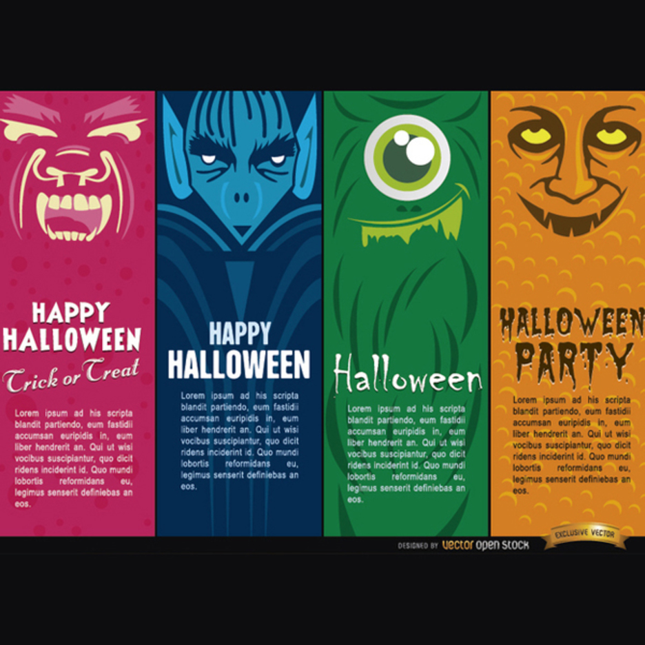 Halloween Vector Monsters Bookmarks