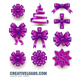 Purple Christmas Bow Vector Set