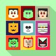 Flat Halloween Vector Faces