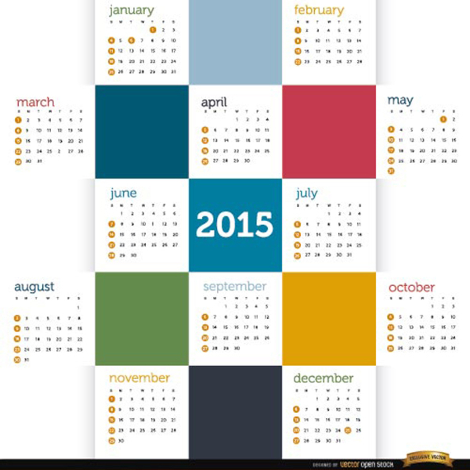 2015 Calendar Vector with Colored Squares