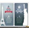 Merry Christmas Card Vectors from Paris & New York