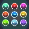 Colorful Glossy Music Button Vectors