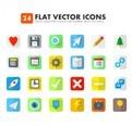 24 Flat Icons Vectors