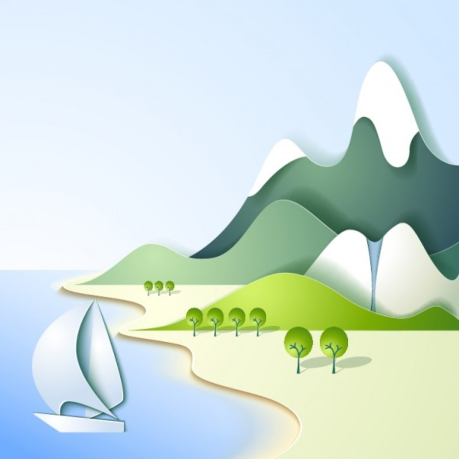 Sea and Mountain Landscape Vector