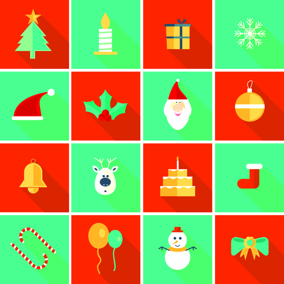 Flat Vector Christmas Ornaments and Icons