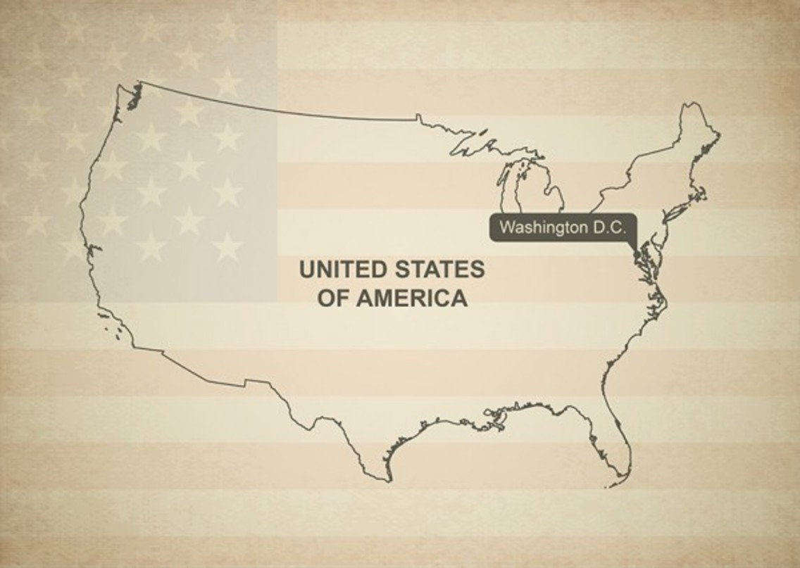 Vintage Outline Map Vector of United States