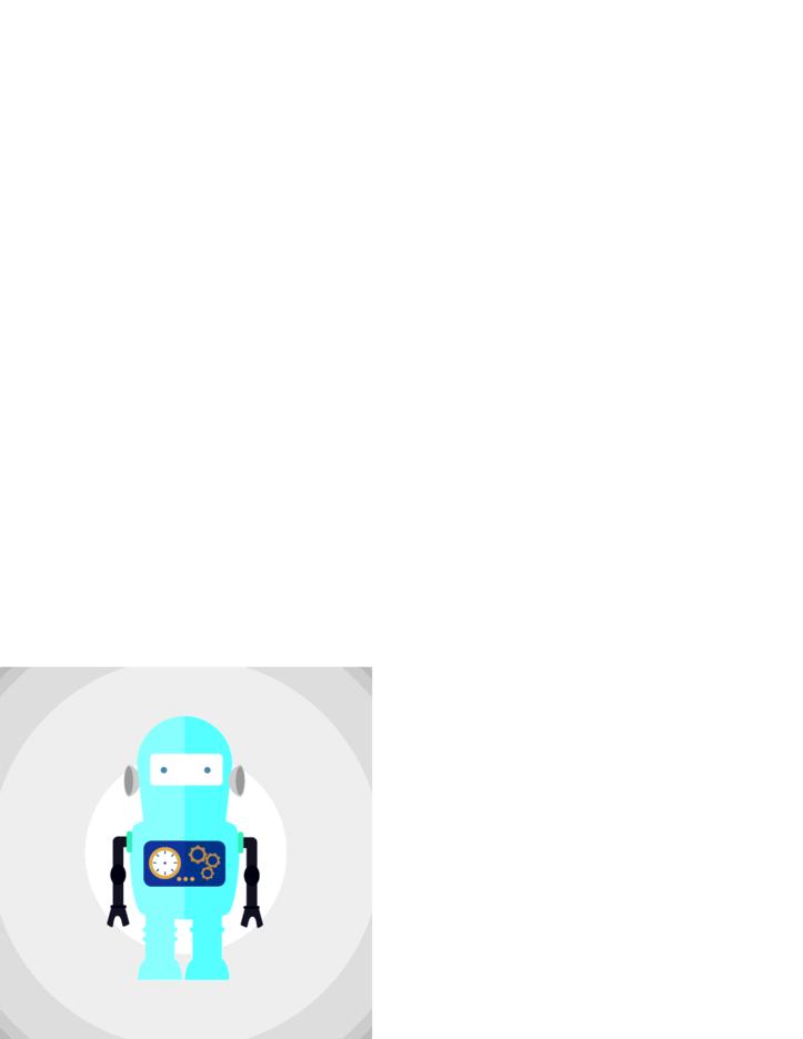 Flat Blue Robot Vector Illustration