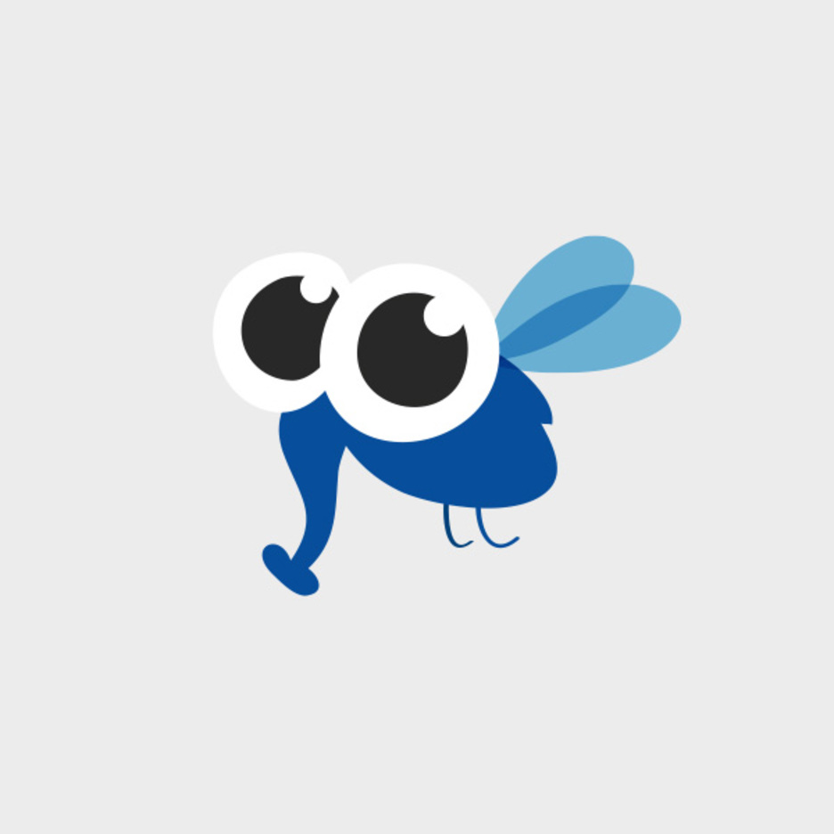 Cute Blue Insect Character Vector