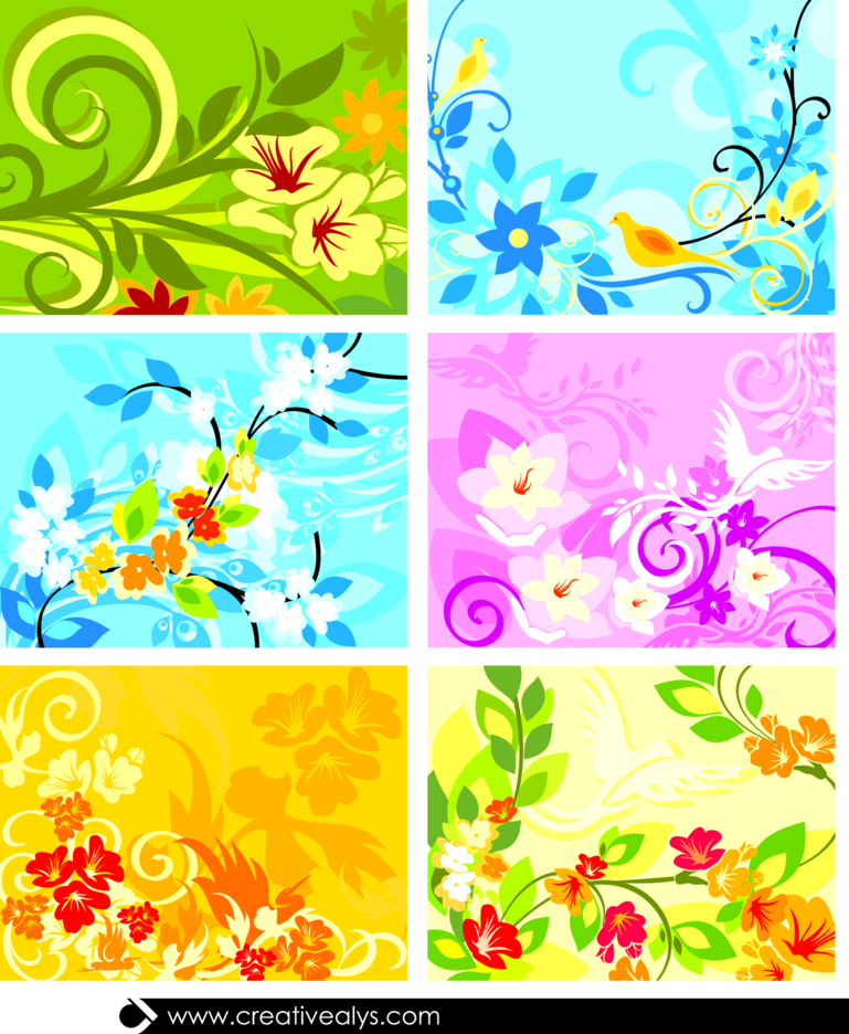 Beautiful Floral Background Set