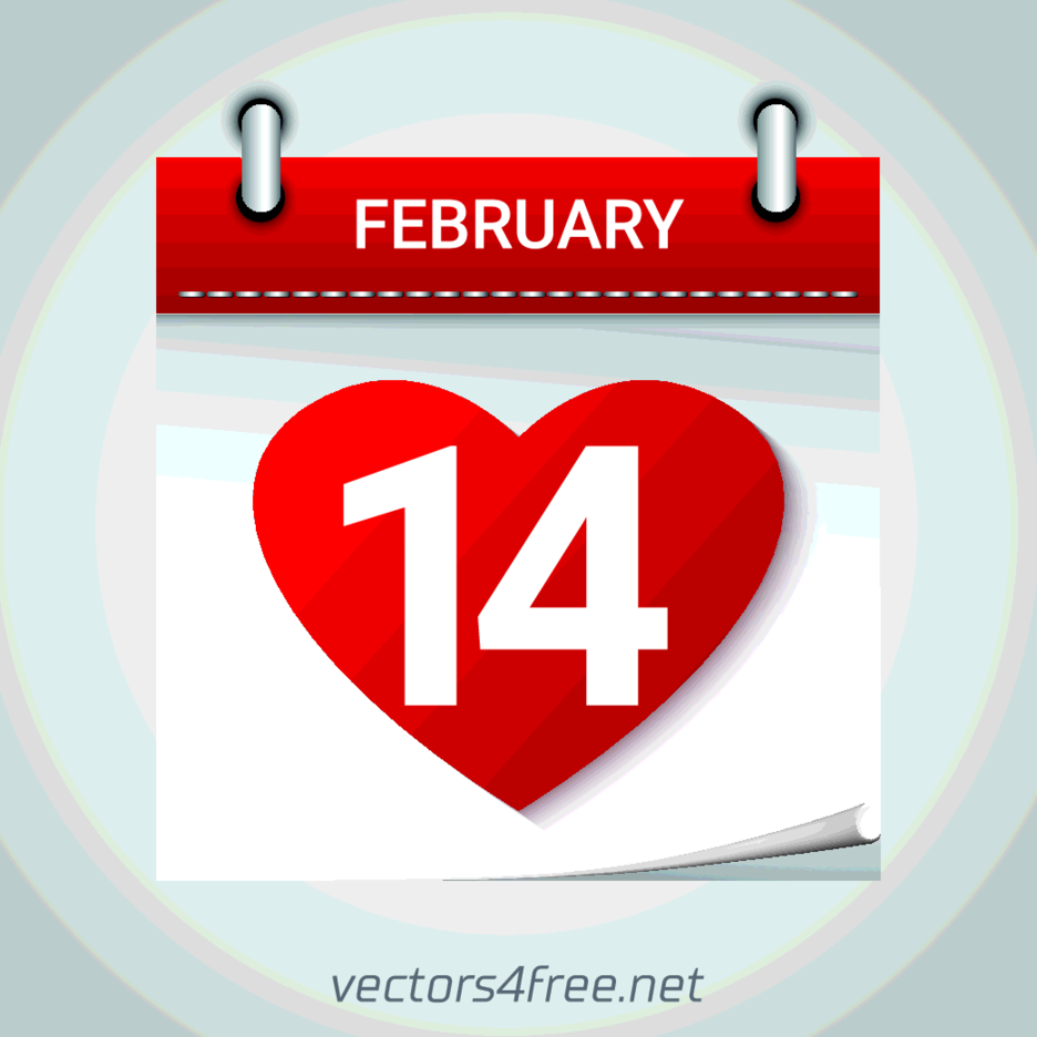 Free Vector Valentines Day February 14 Calendar Icon