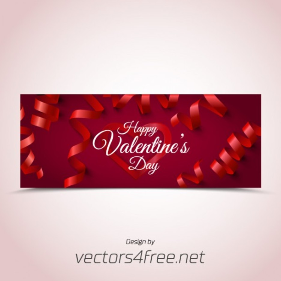 Ribbon Filled Valentine's Day Banner Vector